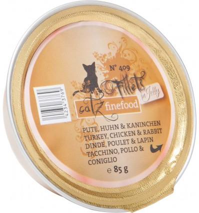 Fillets N°409 KALKUNI-, KANA- JA JÄNESELIHA ŽELEES, teraviljavaba kassieine kausike (Catz Finefood)