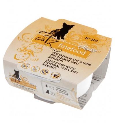 Mousse N°207 VALGE KALA, KANALIHA, TUUNIKALA JA KREVETI VAHT, teraviljavaba kassieine kausike (Catz Finefood)