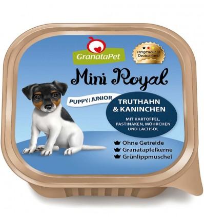 Mini Royal koeraeine kausike kutsikale KALKUNI- ja JÄNESELIHAGA, teraviljavaba koerakonserv (Granata Pet)