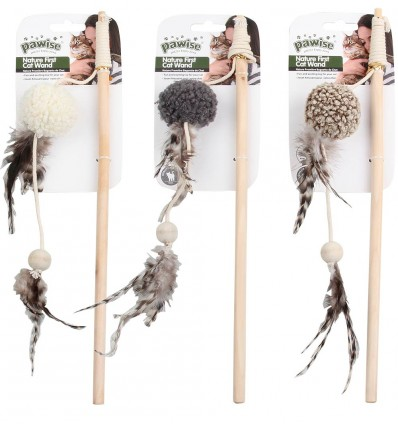 Mänguasi kassile ridvaga, pehme pall Nature First Cat Wand (Pawise)